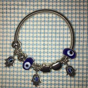 Evil Eye Lucky Blue Bracelet Stretch Silver Band